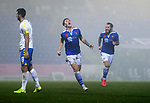 St Johnstone v Kilmarnock…06.11.20   McDiarmid Park SPFL<br />Danny McNamara celebrates his goal<br />Picture by Graeme Hart.<br />Copyright Perthshire Picture Agency<br />Tel: 01738 623350  Mobile: 07990 594431