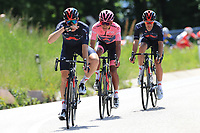26th May 2021; Canazei, Trentino, Italy; Giro D Italia Cycling, Stage 17 Canazei to Sega Di Ala ; Egan Bernal (Ineos Grenadiers) COL with his leading pink jersey and team mates sweep downhill.