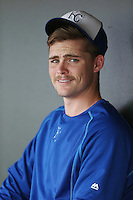Josh Staumont (15) of the AZL Royals in the dugout during a game against the AZL Mariners at Surprise Stadium on July 4, 2015 in Surprise, Arizona. Mariners defeated Royals, 7-4. (Larry Goren/Four Seam Images)