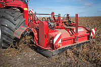 Grimme Varitron 270 self propelled potato harvester lifting Ramos potatoes - October; Cambridgeshire
