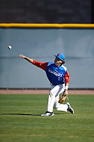 Alvie Castro (6) of Pasadena High School in Pasadena High School, California during the Baseball Factory All-America Pre-Season Tournament, powered by Under Armour, on January 13, 2018 at Sloan Park Complex in Mesa, Arizona.  (Mike Janes/Four Seam Images)