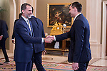 King Felipe VI of Spain and Jonas Maciulis during audience to <br /> the winner of basketball King's Cup 2017, Real Madrid at Zarzuela Palace in Madrid, Spain. March 06, 2017. (ALTERPHOTOS/BorjaB.Hojas)