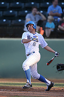Nick Valaika (6) of the UCLA Bruins bats during a game against the Hofstra Pride at Jackie Robinson Stadium on March 14, 2015 in Los Angeles, California. UCLA defeated Hofstra, 18-1. (Larry Goren/Four Seam Images)