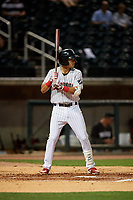 Birmingham Barons Laz Rivera (5) at bat during a Southern League game against the Chattanooga Lookouts on May 1, 2019 at Regions Field in Birmingham, Alabama.  Chattanooga defeated Birmingham 5-0.  (Mike Janes/Four Seam Images)