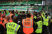 25th September 2021; Saint-Etienne Stade Geoffroy Guichard, France; AS Saint-Etienne versus OGC Nice; Players of ASSE in talks with the fans as stewards support them