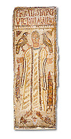 The Christian Eastern Roman Byzantine memorial funerary mosaic for Felicitas and Victoria. <br /> <br /> A mosaic depiction of a female decorates the grave of  Felicitas and Victoria which bears their inscription and that they departed in peace. Lit candles representing eturnal life and birds are also depicted on the funerary panel.<br /> <br /> 5th century AD from the western necropolis of Thabraca, Tabarka, Tunisia, Bardo Museum, Tunis, Tunisia. White background