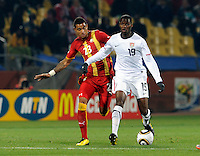 Maurice Edu of USA and Kevin Prince Boateng of Ghana. USA vs Ghana in the 2010 FIFA World Cup at Royal Bafokeng Stadium in Rustenburg, South Africa on June 26, 2010.