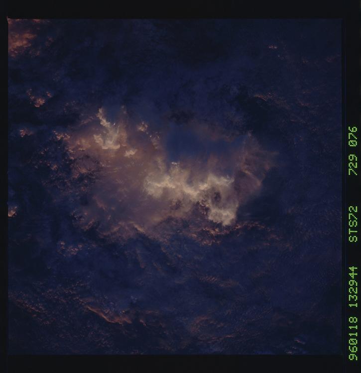 John Angerson. STS-72 Book.<br /> Public Domain Image.<br /> NASA images Courtesy National Archives - Record Group number: 255-STS-STS072<br /> Description: Earth observations taken from shuttle orbiter Endeavour during STS-72 mission.<br /> <br /> Subject Terms: STS-72, ENDEAVOUR (ORBITER), EARTH OBSERVATIONS (FROM SPACE), EARTH LIMB, SUNSET<br /> <br /> Date Taken: 1/18/1996<br /> <br /> Categories: Earth Observations<br /> <br /> Interior_Exterior: Exterior<br /> <br /> Ground_Orbit: On-orbit<br /> <br /> Original: Film - 70MM CT<br /> <br /> Preservation File Format: TIFF<br /> <br /> geon: CLOUDS<br /> <br /> feat: SUNLIT CLOUDS<br /> <br /> tilt: Low Oblique<br /> <br /> cldp: 100<br /> <br /> nlat: 4.9<br /> <br /> nlon: -107.5<br /> <br /> azi: 111<br /> <br /> alt: 166<br /> <br /> elev: 0