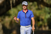 14th March 2021; Ponte Vedra Beach, Florida, USA;  Justin Thomas of the United States reacts after sinking a putt on the 14th hole during the final round of THE PLAYERS Championship on March 14, 2021 at TPC Sawgrass Stadium Course in Ponte Vedra Beach, Fl.