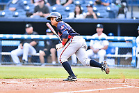 Rome Braves right fielder Randy Ventura (11) swings at a pitch during a game against the Asheville Tourists at McCormick Field on May 22, 2017 in Asheville, North Carolina. The Braves defeated the Tourists 7-3. (Tony Farlow/Four Seam Images)