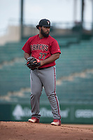 AZL Diamondbacks relief pitcher Mailon Arroyo (37) prepares to deliver a pitch during the completion of a suspended Arizona League game against the AZL Angels at Tempe Diablo Stadium on July 16, 2018 in Tempe, Arizona. The game was a continuation of the July 11, 2018 contest that was suspended by rain in the middle of the eighth inning. The AZL Diamondbacks defeated the AZL Angels 12-8. (Zachary Lucy/Four Seam Images)