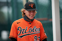 Baltimore Orioles Gunnar Henderson (93) before a Minor League Spring Training game against the Pittsburgh Pirates on April 21, 2021 at Pirate City in Bradenton, Florida.  (Mike Janes/Four Seam Images)