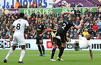 Jordan Ayew of Swansea City has a shot on goal under pressure fromCiaran Clark of Newcastle United during the Premier League match between Swansea City and Newcastle United at The Liberty Stadium, Swansea, Wales, UK. Sunday 10 September 2017