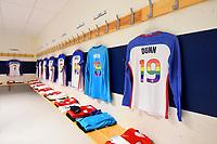 Sandefjord, Norway - June 11, 2017: The USWNT locker room prior to their game versus Norway in an international friendly at Komplett Arena.
