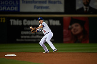Rancho Cucamonga Quakes shortstop Gavin Lux (14) prepares to make a throw to first base during a California League game against the Lake Elsinore Storm at LoanMart Field on May 19, 2018 in Rancho Cucamonga, California. Lake Elsinore defeated Rancho Cucamonga 10-7. (Zachary Lucy/Four Seam Images)