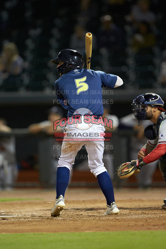 Chandler Avant (5) of the Columbia Fireflies at bat against the Rome Braves at Segra Park on May 13, 2019 in Columbia, South Carolina. The Fireflies defeated the Braves 6-1 in game two of a doubleheader. (Brian Westerholt/Four Seam Images)