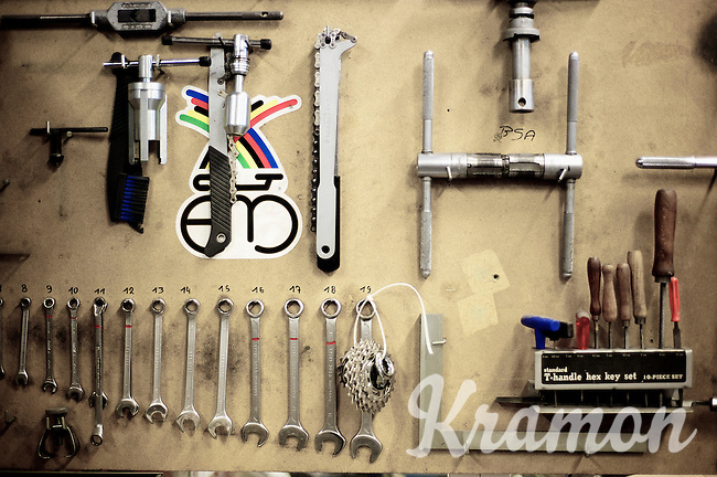 Toolboard at Eddy Merckx' bicycle factory next to his home in St-Brixius-Rode in 2010 (since then moved to an industrial facility)
