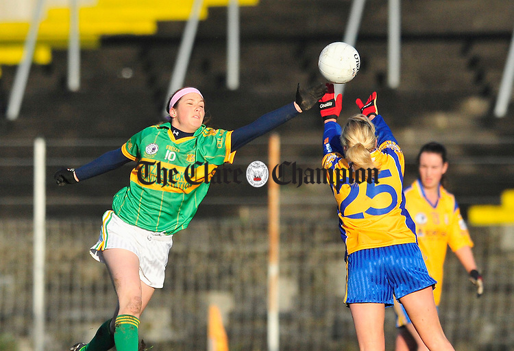 Kilmihil's Eimear Considine battles for posession with Ciara Mc Dermot of Knockmore. Photograph by Declan Monaghan