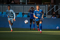 SAN JOSE, CA - MAY 22: Jackson Yueill #14 of the San Jose Earthquakes dribbles the ball during a game between San Jose Earthquakes and Sporting Kansas City at PayPal Park on May 22, 2021 in San Jose, California.