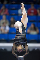 LOS ANGELES, CA - April 19, 2013:  Stanford's Ashley Morgan competes on beam during the NCAA Championships at UCLA.