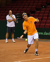 09-09-13,Netherlands, Groningen,  Martini Plaza, Tennis, DavisCup Netherlands-Austria, DavisCup,   Thiemo de Bakker (NED) and coach Raymond Knaap<br /> Photo: Henk Koster