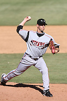 Ryan Quigley #17 of the Lake Elsinore Storm pitches against the Lancaster JetHawks at Clear Channel Stadium on April 15, 2012 in Lancaster,California. Lake Elsinore defeated Lancaster 7-5.(Larry Goren/Four Seam Images)