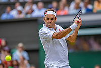 London, England, 6 July, 2019, Tennis,  Wimbledon, Mens single: Roger Federer (SUI)<br /> Photo: Henk Koster/tennisimages.com
