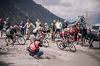 Domenico Pozzovivo (ITA/Bahrain-Merida) up the gravel roads of the Colle delle Finestre <br /> <br /> stage 19: Venaria Reale - Bardonecchia (184km)<br /> 101th Giro d'Italia 2018