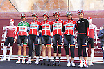 Lotto Soudal Ladies team at sign on before start the 2015 Strade Bianche Women Elite cycle race 103km over the white gravel roads from San Gimignano to Siena, Tuscany, Italy. 8th March 2015<br /> Photo: Eoin Clarke www.newsfile.ie