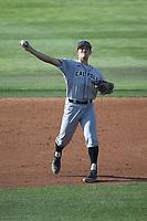 Brooks Lee (22) of the Cal Poly San Luis Obispo Mustangs throws to first base during a game against the UC Santa Barbara Gauchos at Caesar Uyesaka Stadium on April 30, 2021 in Santa Barbara, California. (Larry Goren/Four Seam Images)