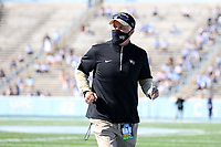 CHAPEL HILL, NC - NOVEMBER 14: Head coach Dave Clawson of Wake Forest heads to the locker room before a game between Wake Forest and North Carolina at Kenan Memorial Stadium on November 14, 2020 in Chapel Hill, North Carolina.