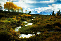 Small stream with fall color and Teton Mountains. Grand Teton National Park, Wyoming
