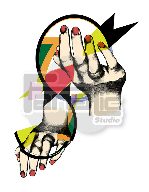 Illustration of woman's hands with S-shape representing sexism