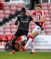 31st October 2020; Bet365 Stadium, Stoke, Staffordshire, England; English Football League Championship Football, Stoke City versus Rotherham United; Harry Souttar of Stoke City tackles Freddie Ladapo of Rotherham United