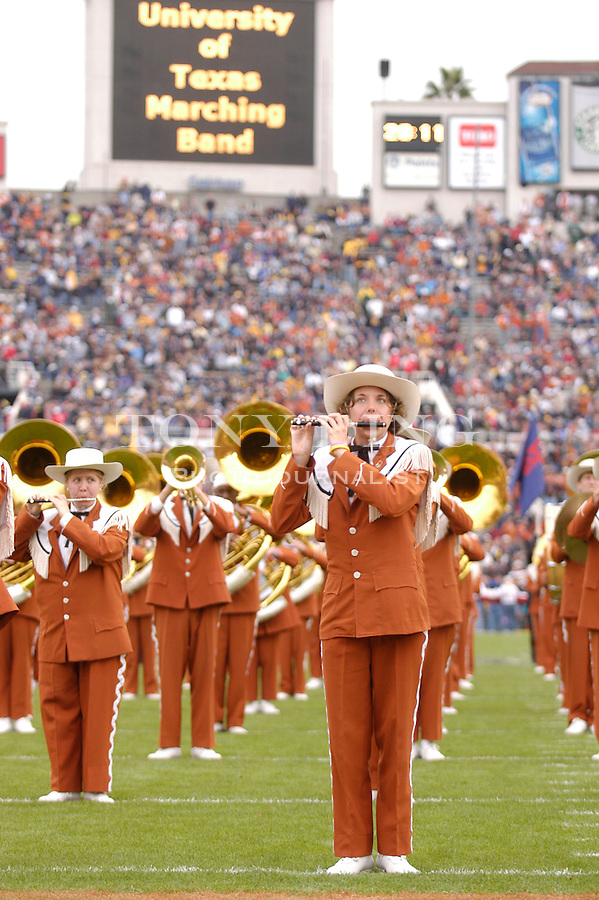 The Texas Longhorns Band during the Wolverines' game 37-38 loss  to Texas on Saturday, January 1, 2004 at the Rose Bowl in Pasadena, Calif. (Photo by TONY DING/The Michigan Daily)