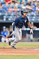 Columbia Fireflies shortstop J.C. Rodriguez (13) swings at a pitch during a game against the Asheville Tourists at McCormick Field on August 17, 2016 in Asheville, North Carolina. The Tourists defeated the Fireflies 7-6. (Tony Farlow/Four Seam Images)