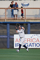 Charlotte Stone Crabs right fielder Carl Chester (9) catches a fly ball during a Florida State League game against the Fort Myers Miracle on April 6, 2019 at Charlotte Sports Park in Port Charlotte, Florida.  Fort Myers defeated Charlotte 7-4.  (Mike Janes/Four Seam Images)