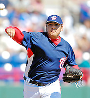 18 March 2007: Washington Nationals pitcher Chad Cordero attempts a pick-off at first against the Florida Marlins at Space Coast Stadium in Viera, Florida...Mandatory Photo Credit: Ed Wolfstein Photo