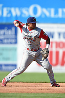 Williamsport Crosscutters second baseman Drew Stankiewicz (8) throws to first during a game against the Batavia Muckdogs on July 27, 2014 at Dwyer Stadium in Batavia, New York.  Batavia defeated Williamsport 6-5.  (Mike Janes/Four Seam Images)