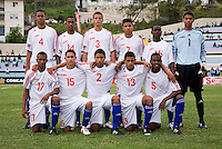 Cuba lines up before the game during the group stage of the CONCACAF Men's Under 17 Championship at Jarrett Park in Montego Bay, Jamaica. Panama tied Cuba, 0-0.