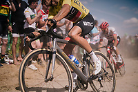 yellow jersey / GC leader Greg Van Avermaet (BEL/BMC)on pavé sector #2<br /> <br /> Stage 9: Arras Citadelle > Roubaix (154km)<br /> <br /> 105th Tour de France 2018<br /> ©kramon