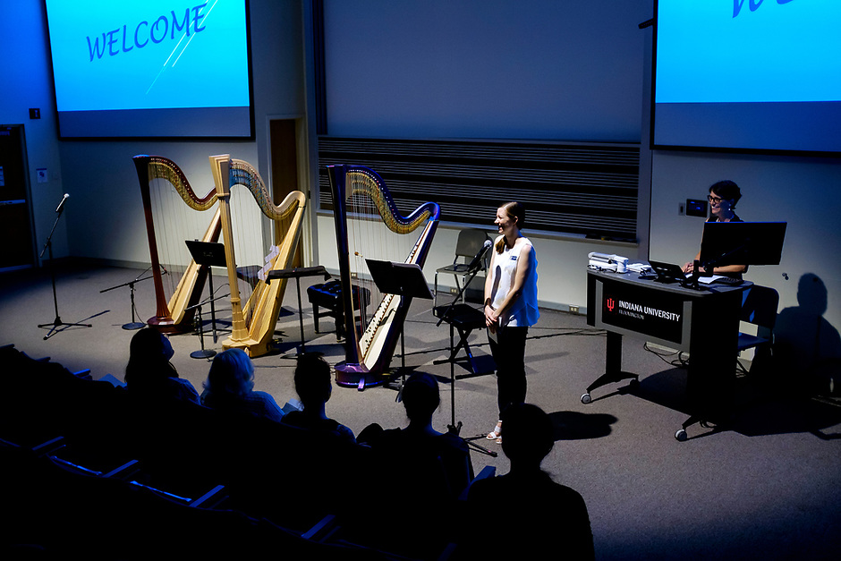 USA International Harp Competition Executive Director Erin Brooker-Miller speaks during the Composition Forum at the 11th USA International Harp Competition at Indiana University in Bloomington, Indiana on Monday, July 8, 2019. (Photo by James Brosher)
