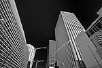 Up view of buildings Downtown Dayton Ohio on Second Street. Black & White