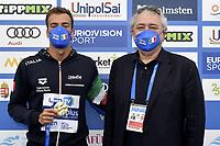PALTRINIERI Gregorio Gold Medal, BARELLI Paolo <br /> Team Event 5 km <br /> Open Water<br /> Budapest  - Hungary  15/5/2021<br /> Lupa Lake<br /> XXXV LEN European Aquatic Championships<br /> Photo Andrea Staccioli / Deepbluemedia / Insidefoto
