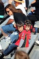 Feb 12, 2017; Pomona, CA, USA; Jacob Hood (left) and Noah Hood the children of former NHRA funny car driver Ashley Force Hood during the Winternationals at Auto Club Raceway at Pomona. Mandatory Credit: Mark J. Rebilas-USA TODAY Sports