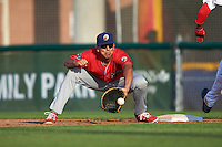 Williamsport Crosscutters first baseman Darick Hall (46) stretches for a throw during a game against the Auburn Doubledays on June 26, 2016 at Falcon Park in Auburn, New York.  Auburn defeated Williamsport 3-1.  (Mike Janes/Four Seam Images)