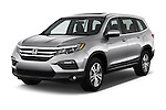2018 Honda Pilot EX-L 5 Door Suv Angular Front stock photos of front three quarter view