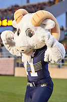 Navy  mascot Bill the Goat during NCAA Football game, Saturday, September 13, 2014 in San Marcos, Tex. Navy leads Texas State 28-7 at the halftime.(Mo Khursheed/TFV Media via AP Images)
