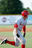 Greeneville Reds outfielder Mike Siani (34) running to first base in his first professional at bat against the Burlington Royals at the Burlington Athletic Complex on July 7, 2018 in Burlington, North Carolina. It was the first professional game (and at bat) for Siani after signing with Cincinnati. Burlington defeated Greeneville 2-1. (Robert Gurganus/Four Seam Images)