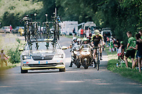 Mathew Hayman (AUS/Mitchelton-Scott) cathing back up with the breakaway group<br /> <br /> Stage 18: Trie-sur-Baïse > Pau (172km)<br /> <br /> 105th Tour de France 2018<br /> ©kramon